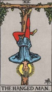 The Hanged Man tarot card, drawn by Pamela Coleman Smith