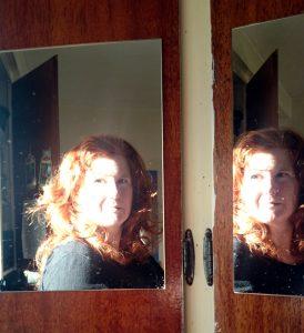 Sophia looking in the mirror